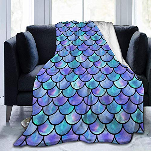 Blue Watercolor Mermaid Scales Fleece Throw Blanket Plush Soft Throw for Bed Sofa, 50'X40'