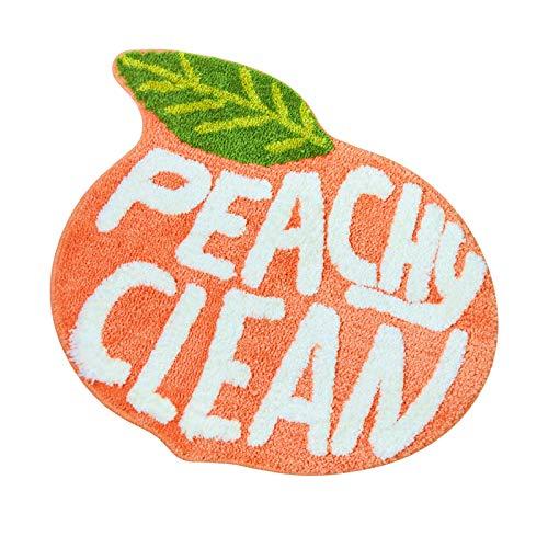 Peach Clean Bath Mat, Bathroom Decor Area Rug Peachy, Soft & Absorbent Plush Coral Fabric, Also for Bedroom Children's Room, Non-Slip Washable