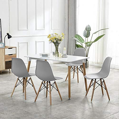 Econo - Mesa de Comedor y 4 sillas de Madera Maciza de Color Blanco, Mesa Rectangular de 120 x 80 x 75 cm con 4 sillas Grises