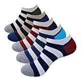REAMTOP 5prs Men's Casual No Show Socks Striped Socks– Light Weight & Thin Socks