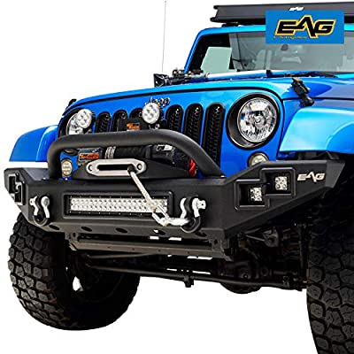 EAG Full Width Front Bumper with LED Lights and Winch Plate for 07-17 Jeep Wrangler JK