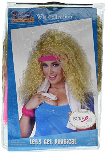 California Costumes Women's Let's Get Physical Wig Headband and Sweat Band 80's Aerobics Dance Set, Blonde, One Size