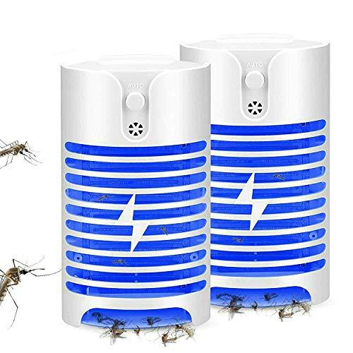 GuDoQi 2 Paquetes Lampara Mata Mosquitos Electrico UV Lámpara Anti Mosquitos Socket LED Luz Sensor De Luz Lámpara Trampa De Insectos Mata Mosquitos Insectos Polillas Pequeña Mosca