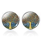 Gemelos de cristal con diseño de árbol de la vida, para hombre, de lujo, de calidad