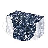 vijTIAN difine 60 Stück Weihnachten Einmal-Mundschutz, Schnee Gedruckt Erwachsene Einweg 3-Lagig Bandana Maske Schals, Atmungsaktive Mund-Nasen