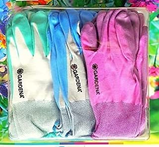 Gardena Gardening Outdoor Gloves 9 Pairs - Nitrile Dipped Protection Anti-Slip Knitted Wrist