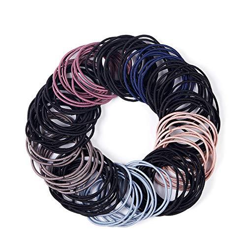 ANDERK 300 Stück Haargummis, 5 Farbe Haarband, Elastisch Stirnband Für Pferdeschwanz Halter für Dicke Schwere und Lockiges Haar, Zubehör für Haarfrisuren für Frauen Mädchen