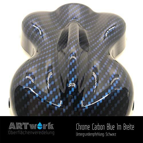 Wassertransferdruck Folie ARTwork Chrome Carbon Blue 1m Breite WELTNEUHEIT !!!