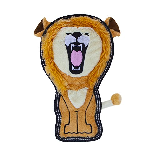 Invincibles Tough Seamz Stuffingless Durable Tough Plush Toy for Dogs  Tough Squeaky Dog Toy by Outward Hound  Medium  Lion