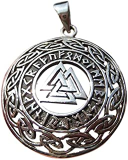 Everest Crystal Art 925 Silver Valknut Triquetra Triangle Norse Viking Germanic Runes Pendant A2765