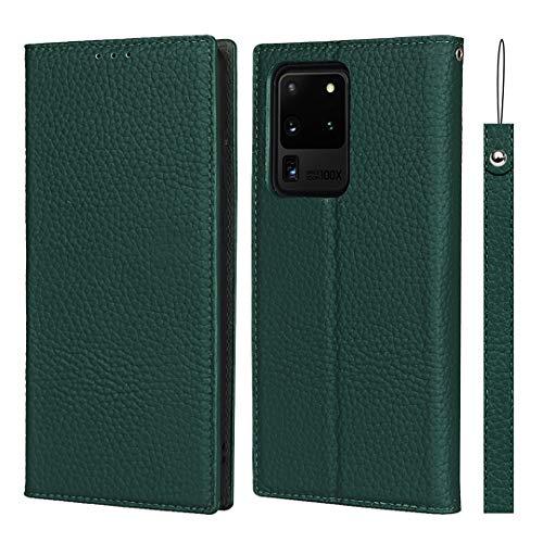 SailorTech för Samsung Galaxy S20 Ultra plånboksfodral, lyxig Litchi-korn äkta läderfodral skydd med handledsrem folio flip telefonfodral med kort kontanter platser hållare ställ mörkgrön