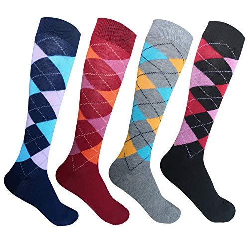 4 Paar Laufsocken Kniestrümpfe Stützstrümpfe Reisestrümpfe Damen lange Socken ohne Naht Karo Muster 1303 39-42
