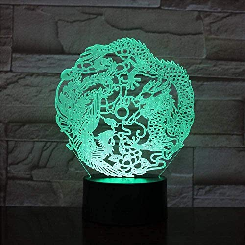 Linterna mágica 3D, luz de noche LED, ambiente encantador, decoración de dragón y fénix, 7 colores con características chinas, súper lámpara de escritorio con control remoto