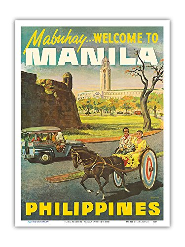 Manila Philippines - Mabuhay (Welcome) - Vintage Travel Poster c.1950s - Master Art Print 9in x 12in