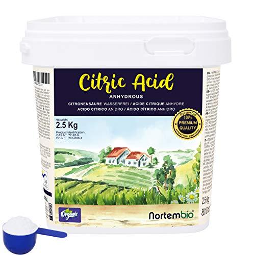 NortemBio Zitronensäure 2,5 Kg. Wasserfreies Citronensäure Pulver, 100% Reine. Für Ökologischen Produktion. E-Book Inklusiv.
