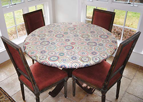 Covers For The Home Deluxe Elastic Edged Flannel Backed Vinyl Fitted Table Cover - Multi-Color Geometric Medallion Pattern - Small Round - Fits Tables...