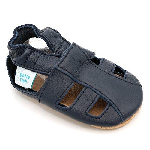 Dotty Fish Chaussures bébé en Cuir Souple. Chaussons antiderapant Bebe. Garçons et Filles. Sandales Bleu Marine. 18-24 Mois (23 EU)