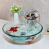 DWSS® Lavandino del bacino Golden Fish Set di rubinetti per lavabo da bagno Lavabo in vetro temperato con rubinetto dell'acqua Set di lavabo e scarico pop-up