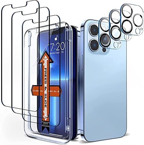 EGV【3+3 Stück Schutzfolie Kompatibel mit iPhone 13 Pro Panzerglas für mit Rahmen-Installationshilfe, aus 9H Festigkeit Panzerglasfolie, HD Bildschirmschutz, Unzerbrechliche Anti-Kratz Full Screen Folie