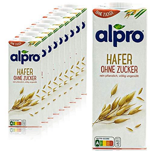 Alpro - 10er Pack Haferdrink ohne Zucker 1 Liter - Oat Hafer Drink ungesüßt 100 % pflanzlich