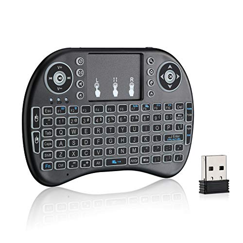 ZYF Mini Wireless Keyboard, i8 2.4GHz Rechargeable Remote Keyboard with Touchpad Mouse Combo, 7 Colors RGB Backlit, for Android TV Box, Smart TV, PS3, Nvidia Shield - Black
