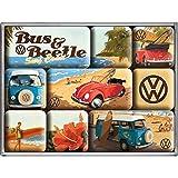 Nostalgic-Art Lot de 9 aimants pour réfrigérateur sur Le thème de la Marque Volkswagen avec Bulli, T2, Beetle et Cabriolet