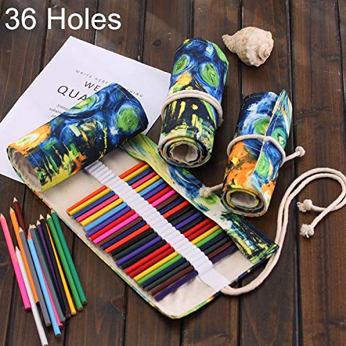 Canvas Pencil Wrap, 36 Slots Van Gogh Oil Painting Print Pen Bag Canvas Pencil Wrap Curtain Roll Up Pencil Case Stationery Pouch, easy to carry