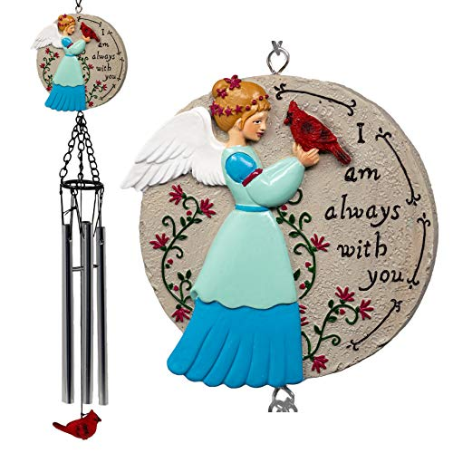 BANBERRY DESIGNS Cardinal and Angel Windchimes - I'm Always with You Remembrance Saying - Memorial Garden Wind Chimes Loss of Loved One - Hangs Approx. 20 Inches Long Indoor Outdoor