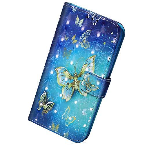 Herbests Kompatibel mit Samsung Galaxy M31 Hülle Lederhülle Brieftasche Schutzhülle Bling 3D Bunt Glitzer Muster Klapphülle Tasche Wallet Flip Case Magnet Ständer,Gold Schmetterling