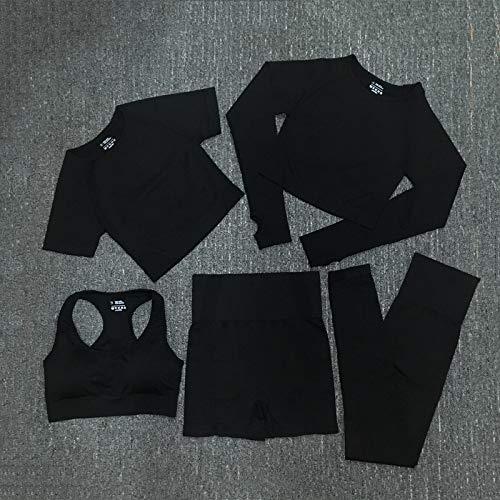 Conjunto De Yoga Sin Costuras para Mujer, Entrenamiento, Manga Larga, Top Corto, Cintura Alta, Gimnasio, Mallas para Fitness, Entrenamiento, Ropa Deportiva, Traje Deportivo S 5Pcsset-Negro