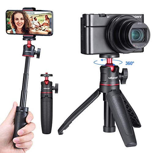 ULANZI MT-08 Extension Pole Tripod, Mini Selfie Stick Tripod Stand Handle Grip for Webcam iPhone 11 Pro Max Samsung Smartphone Canon G7X Mark III Sony ZV-1 RX100 VII A6400 A6600 Cameras Vlogging