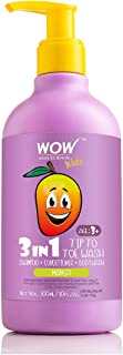 WOW Kids Tip to Toe Wash - Shampoo - Conditioner - Body Wash - No Sulphates & Parabens - Mango, 300 ml