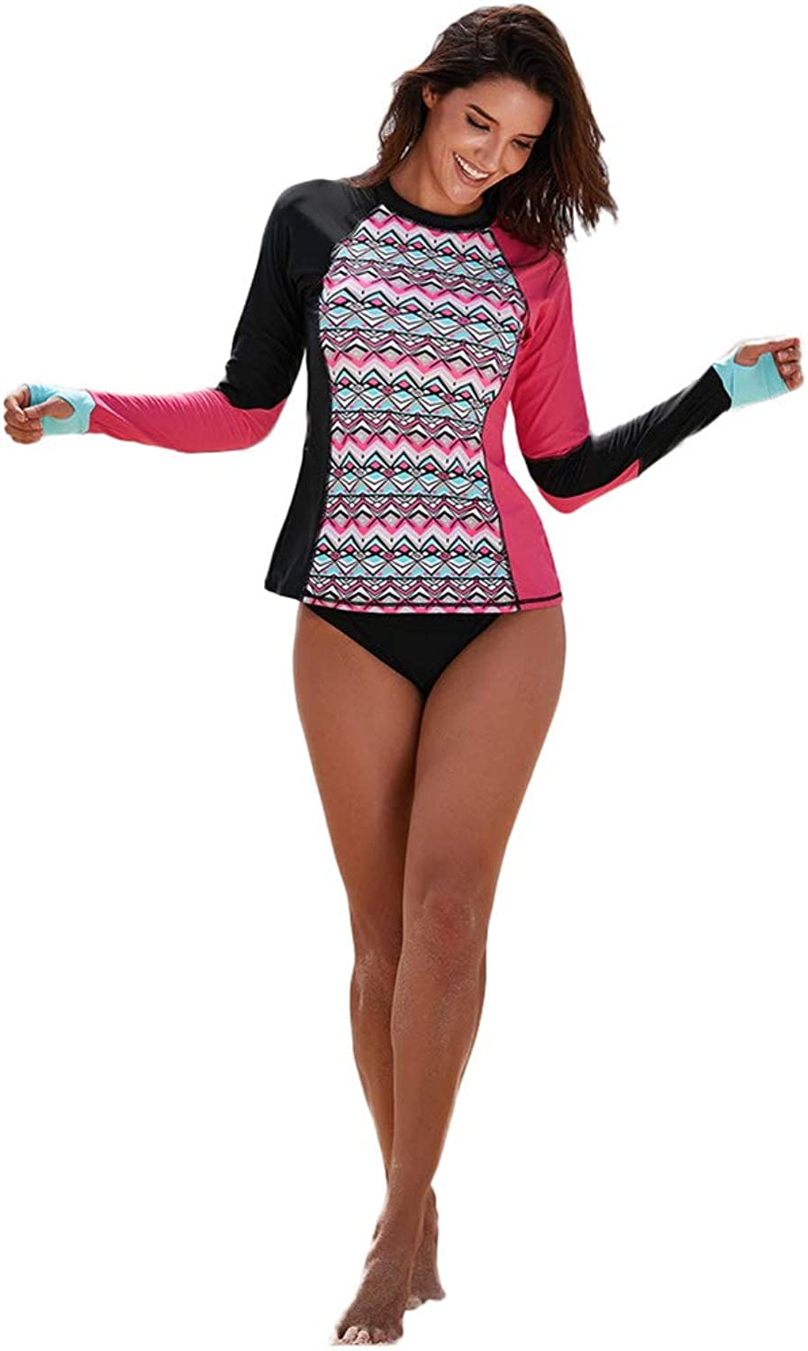 Long Sleeves Wetsuit Printed Patterns UV Predection Sport Dive Skin Suit  Perfect for Swimming Scuba Diving Snorkeling Surfing  Two Pieces for Women&Teens
