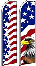 American Patriotic Military Swooper Flutter Feather Flags 2Pack-USEagle-US Stars
