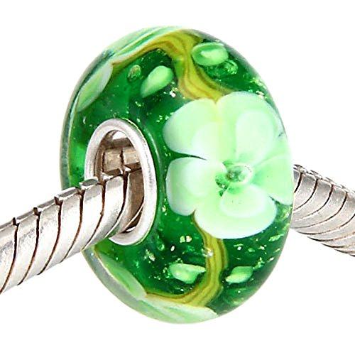 Murano Glass Beads 925 Sterling Silver Charms Flower Snowflake for European Bracelets by Sandcastle Jewellery (Green Flower)
