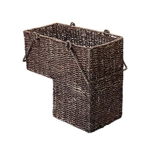 VILLACERA 14-Inch Wicker Stair Case Basket with Handles | Handmade Woven Seagrass in Brown