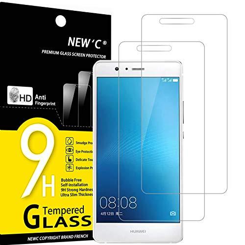 NEW'C 2 Pezzi, Vetro Temperato Compatibile con Huawei P9, Pellicola Prottetiva Anti Graffio, Anti-Impronte, Durezza 9H, 0,33mm Ultra Trasparente, Ultra Resistente