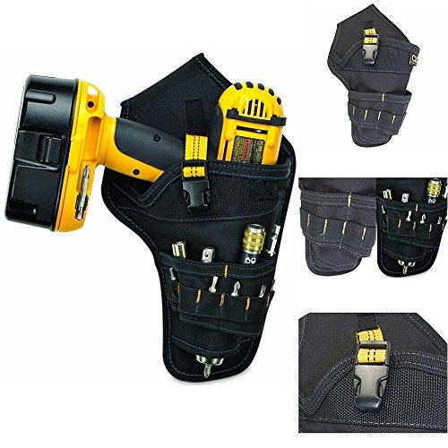 ASOSMOS Heavy-Duty Drill Holster Tool Belt Pouch Bit Holder Hanging Waist Bag Drill Tool Storage Bags (Yellow)
