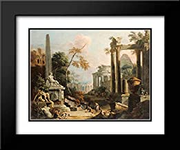 Landscape with Classical Ruins and Figures 24x20 Black Modern Frame and Double Matted Art Print by Ricci, Marco