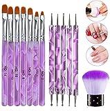 JMEOWIO Lot de 13 pinceaux à ongles en gel UV et acrylique pour nail art, pinceau de modelage pour nail art, pinceau de peinture à ongles