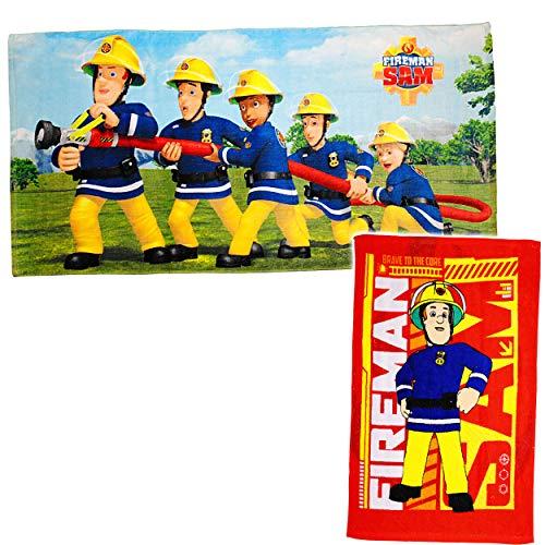 alles-meine.de GmbH 2 TLG. Set _ Badetuch / Strandtuch & Kinderhandtuch - Feuerwehrmann Sam - Baumwolle 100 % - 70 cm * 140 cm + 40 cm * 60 cm - Frottee / Velours - Handtuch - Du..