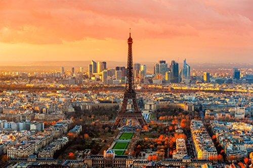 Eiffelturm Paris Stadt XXL Wandbild Foto Poster P0285 Größe 90 cm x 60 cm, Größe 90 cm x 60 cm