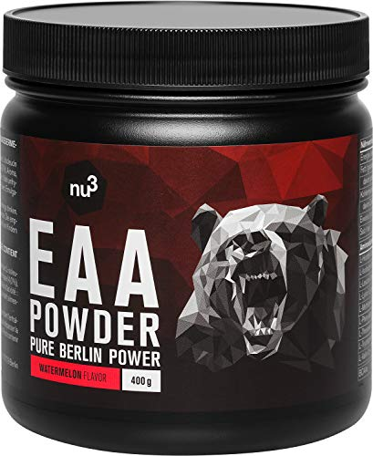 nu3 EAA Powder - All 3 BCAA's + 5 More Essential Amino acids - to Increase Strength & Energy During The Workout - with Leucine, Isoleucine & Valine - Fast Muscle Absorption - 400 g Watermelon Flavour