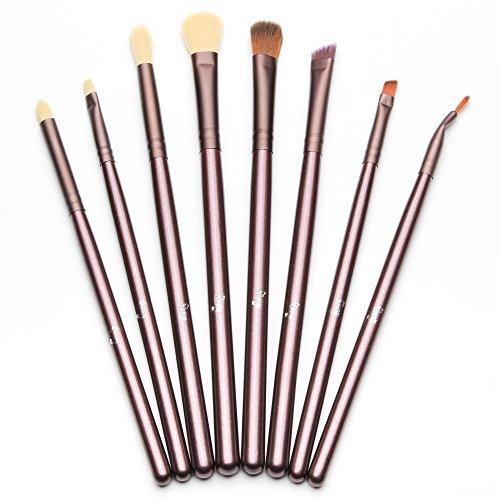 Gli spazzole dell'occhio di Qivange hanno fissato le spazzole di trucco delle estetiche dell'ombretto dell'ombretto dell'ombretto con il sacchetto (8 parti dell'oro del caffè)