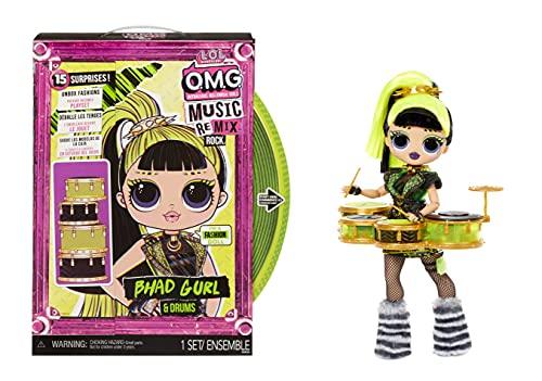 LOL Surprise OMG Remix Rock BHAD GIRL Modepuppe mit 15 Überraschungen - mit Schlagzeug, Outfit, Schuhen, Bürste, Puppenständer, Songtext-Magazin & Plattenspieler-Paket - Für Mädchen ab 4+ Jahren
