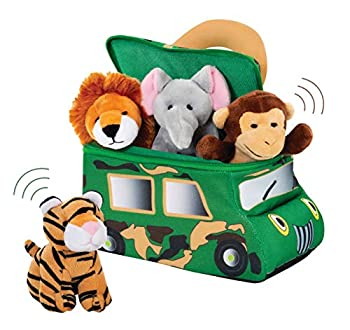 Bundaloo Plush Jungle Animals Set - Soft Plushies with Safari Truck Carrier - Talking Stuffed Toys for Babies Kids and Toddlers - Cute Mini Tiger Lion Monkey and Elephant with Realistic Sounds