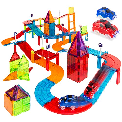 Best Choice Products 105-Piece Kids Magnetic Building Tiles Set, Racetrack Construction Blocks Educational STEM DIY Toy Playset for Learning, Motor Skill Training w/Light Up Car