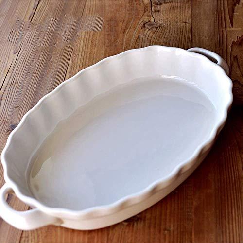 Ustensiles de Cuisine/Vaisselle/Vaisselle d'extérieur/de Camping Céramique de Couleur Unie Grand Plateau de Cuisson Assiette binaurale Anti-brûlure Assiette à Riz Extra Large Assiette
