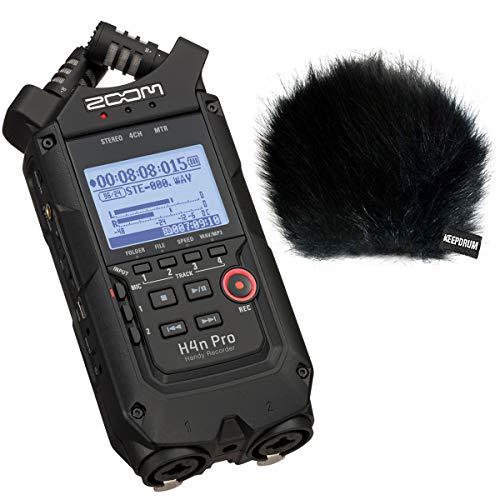 ZOOM H4n PRO Black Handy Recorder + keepdrum WSBK Fell-Windschutz