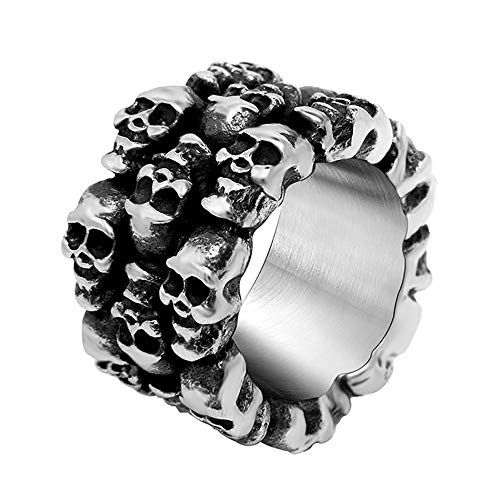 BOBIJOO Jewelry - Chevalière Bague Gros Anneau Homme Biker Crâne Tête de Mort 3 Rangs Acier Inoxydable - 68 (12 US), Acier Inoxydable 316
